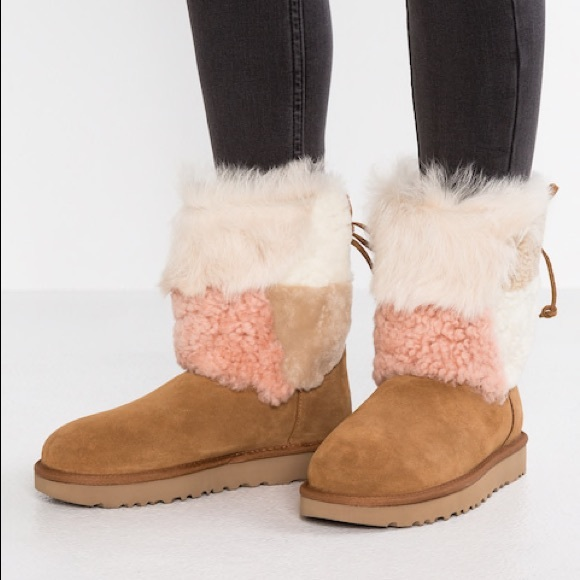 c6168c920ff Ugg patchwork fluff boots new with tags NWT